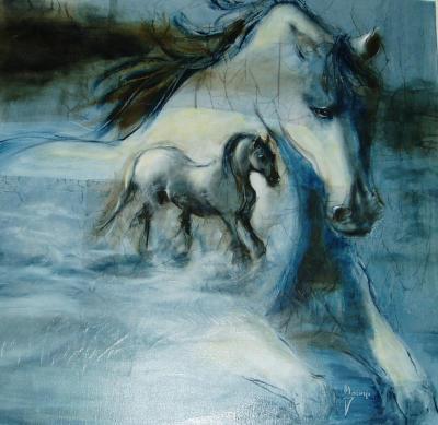 cheval vlanc peinture licorne image du net