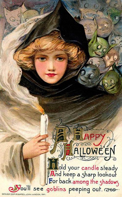 Halloween postacard 1911 velvetinabat