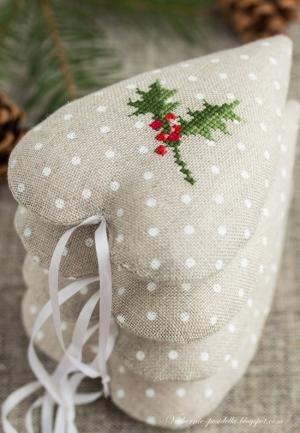 noel coeurs gris brodés christmas4u