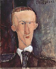 Blaise Cendrars par Modigliani en 1917.