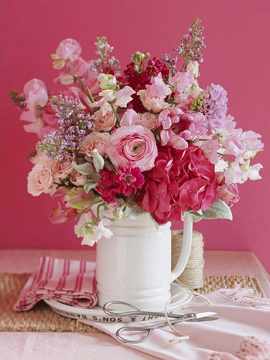 bouquet rose esprit shabby
