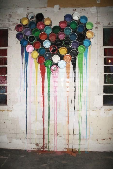 coeur street art de peinture
