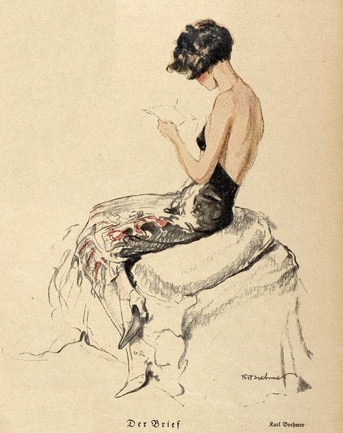 femme années 20 lisant de dos