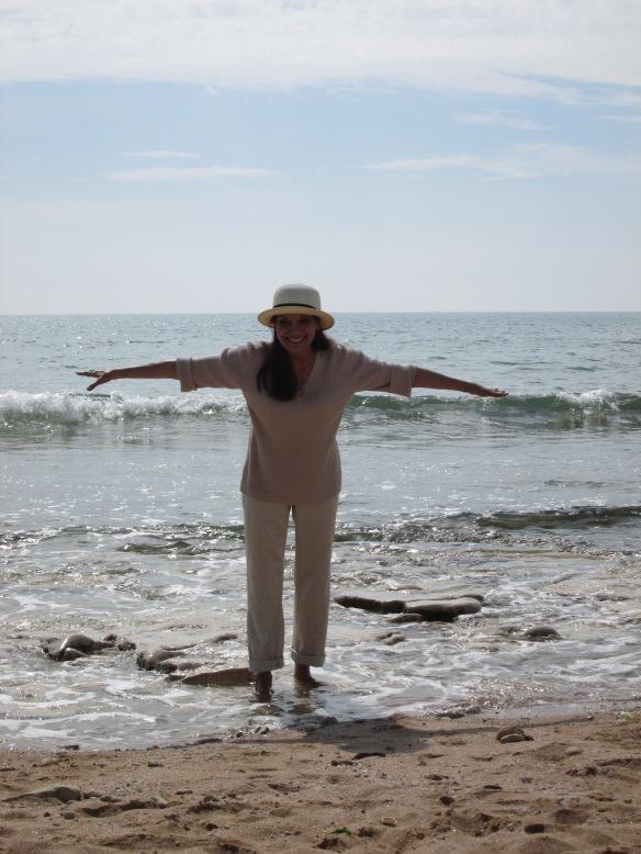 Dos à la mer, je me prends pour une mouette, je ne m'envolerais pas mais je garde l'équilibre !