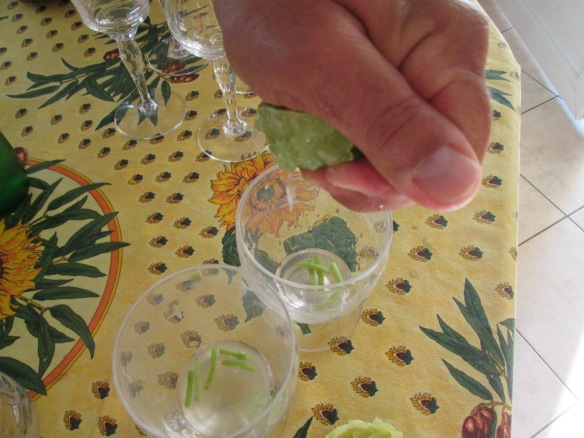 Pressage manuel du citron après avoir mis le sucre de canne (il ne se voit pas sur la photo, il était blanc donc transparent).