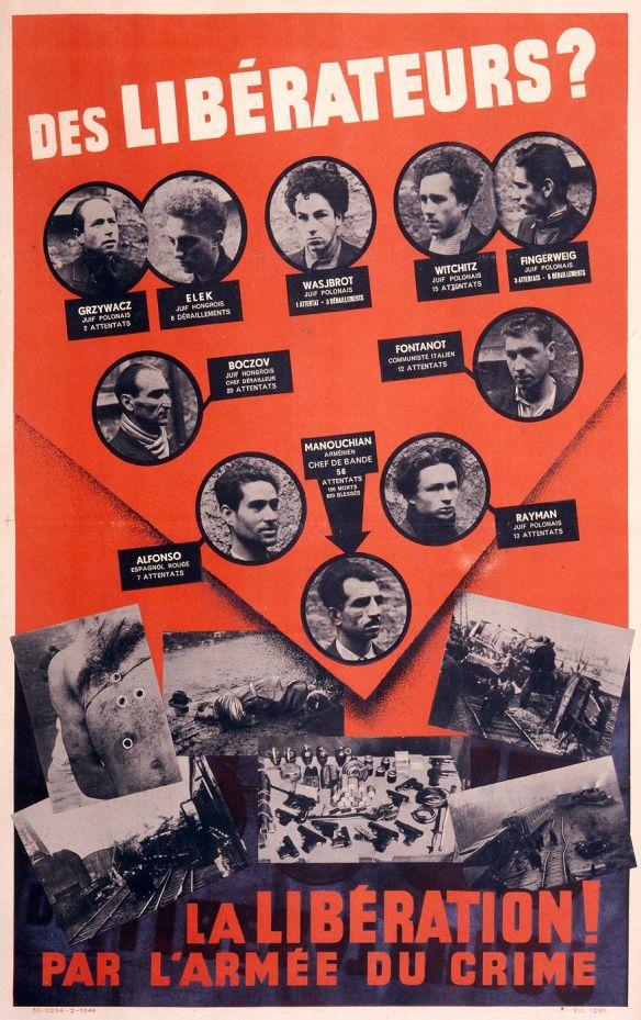 affiche rouge des 23 arméniens , polonais et autres étrangersfusillés