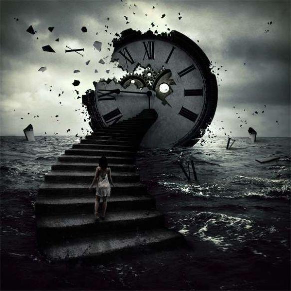 horloge cassée surréaliste mer