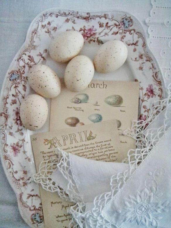 pâques oeufs blancs ancienne ana-rosa