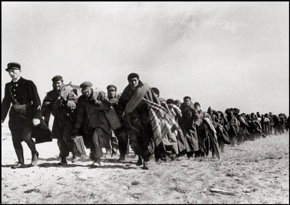 Réfugiés espagnols, en mars 1939, conduits vers un camp entre Argelès et Barcarès. Photo de Robert Capa.
