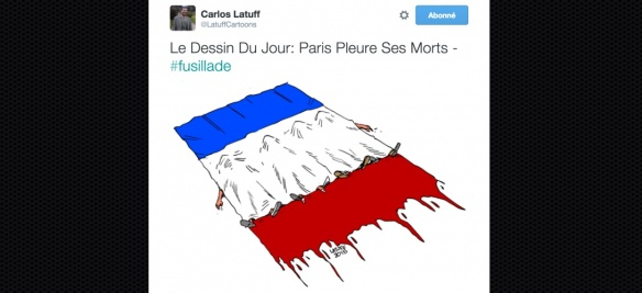 attentat drapeau recouvrant les morts
