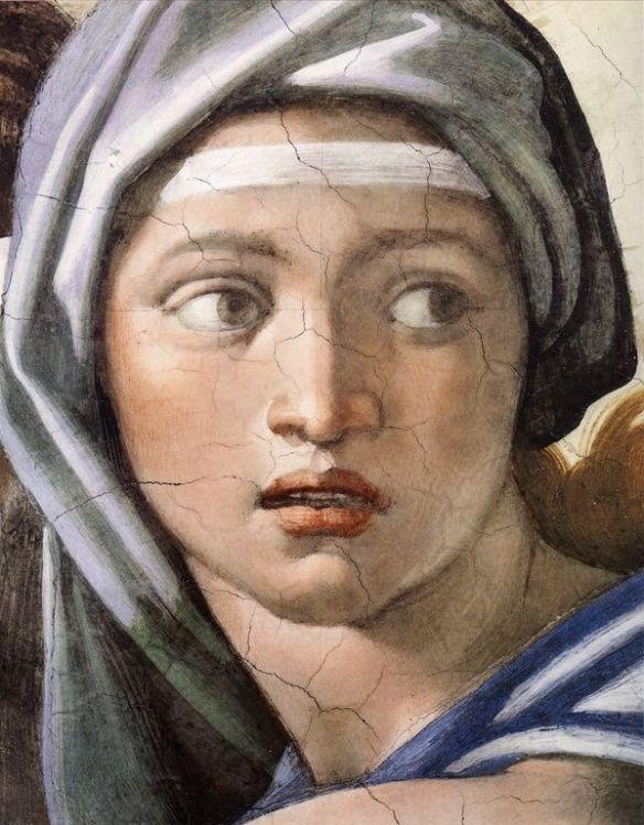La Sybille de Delphes par Michel-Ange (partie du visage seulement).