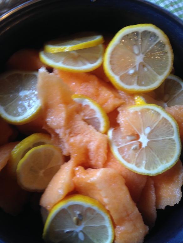 Préparation la veille de ma confiture de melon