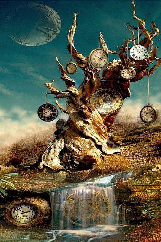temps-qui-passe-horloges-arbres-eau-riviere