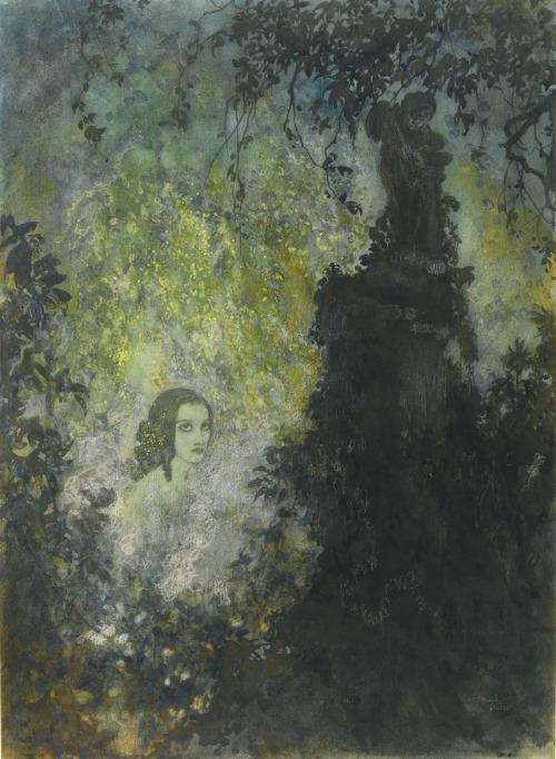 a-vivien-femme-seule-au-jardi-peinture-edmund-dulac